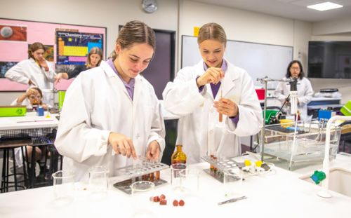 Senior school girls in a science lab