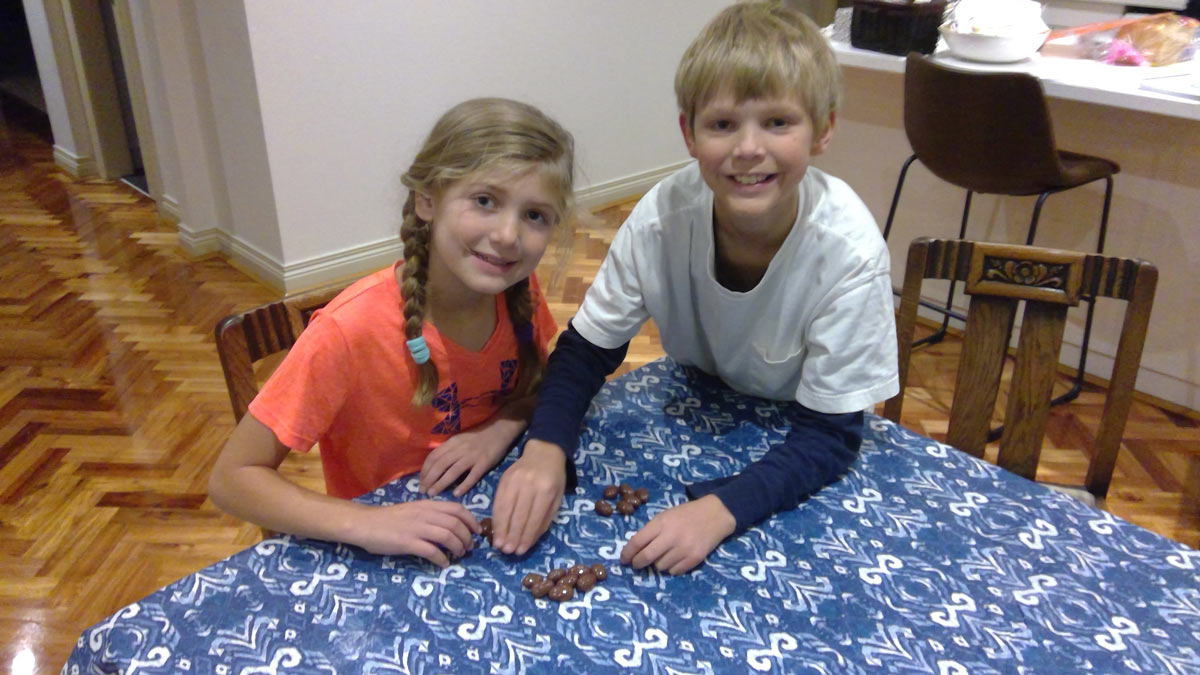 Siblings playing a fractions-based game