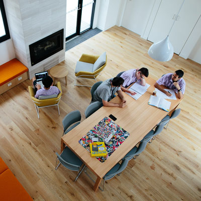 Aerial view of student studying in a modern communal area
