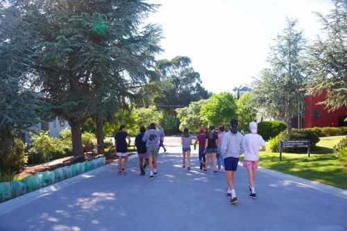 Students walking through the Clunes area