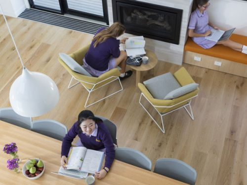 Three female students studying in a boarding house