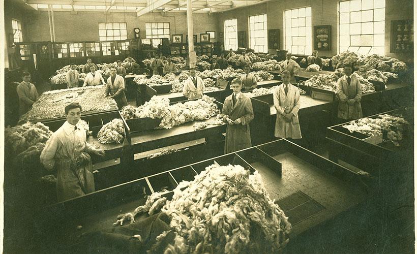 Wesley College wool sorting class