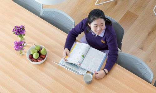 Student in school uniform studies at a desk with textbook and laptop